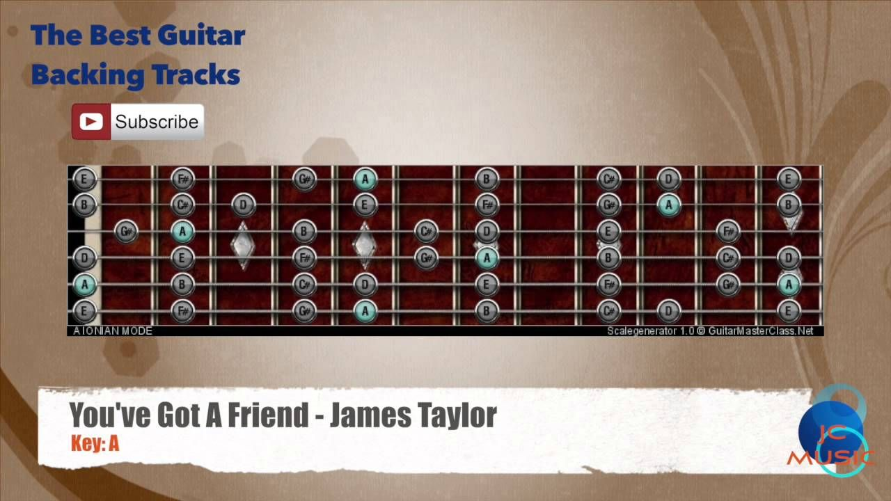 You Ve Got A Friend James Taylor Guitar Backing Track With Scale Chart Backing Tracks Santana Guitar Guitar