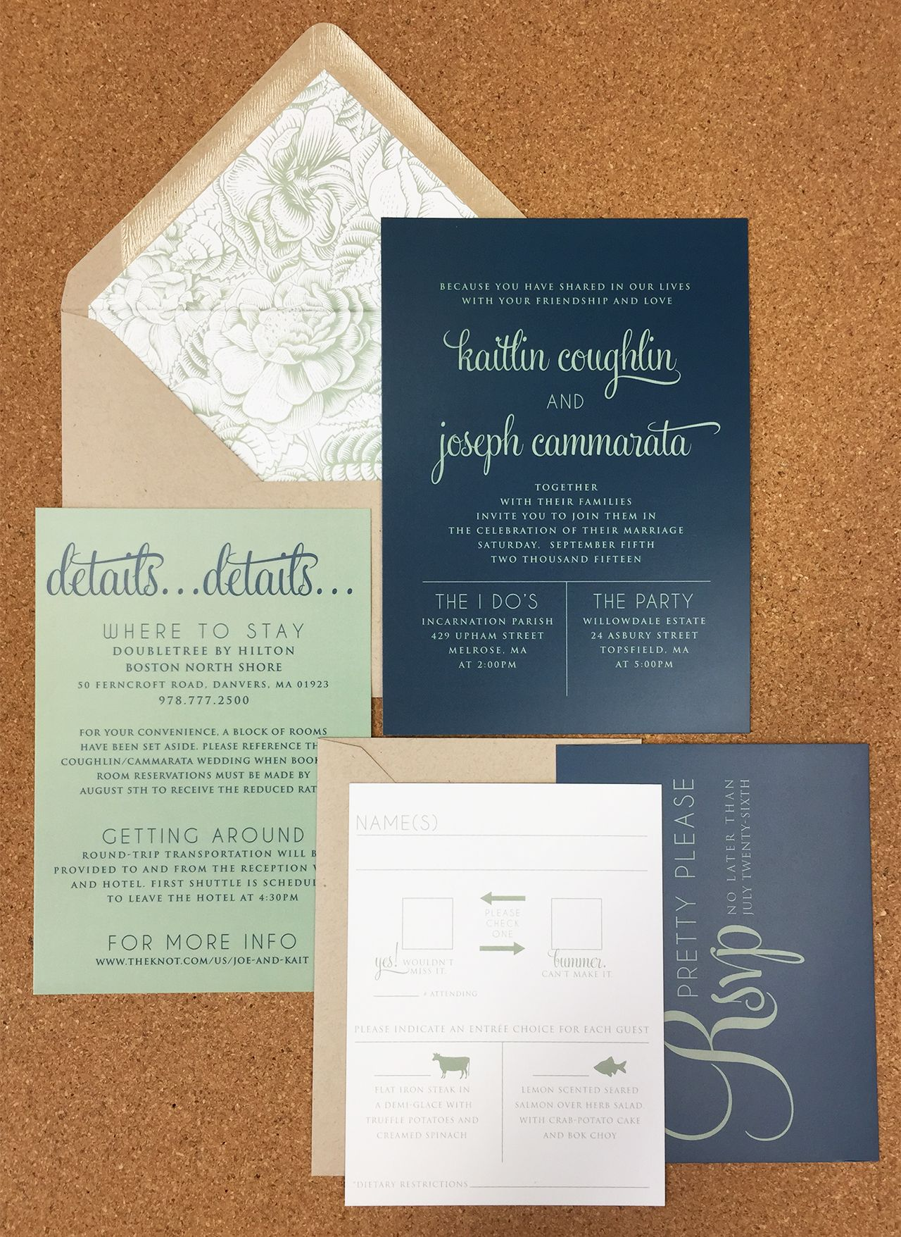 Simple And Modern Navy And Sage Green Wedding Invite With Kraft