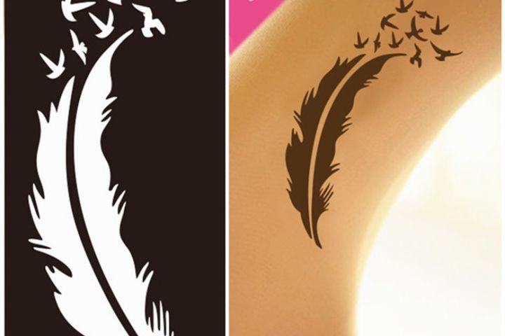 Stencial plumas fliiby tattoo stencils tattoos henna art