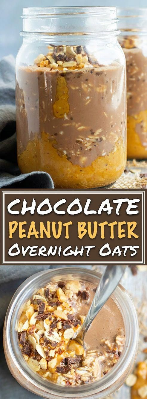 Healthy Chocolate + Peanut Butter Overnight Oats Chocolate + Peanut Butter Overnight Oats | Make this easy and healthy Chocolate Peanut Butter Oatmeal in a Jar the night before and wake up to a delicious breakfast in a jar! This easy vegan overnight oats recipe is made with gluten-free oats, cocoa powder, almond milk, and sweetened with maple syrup!