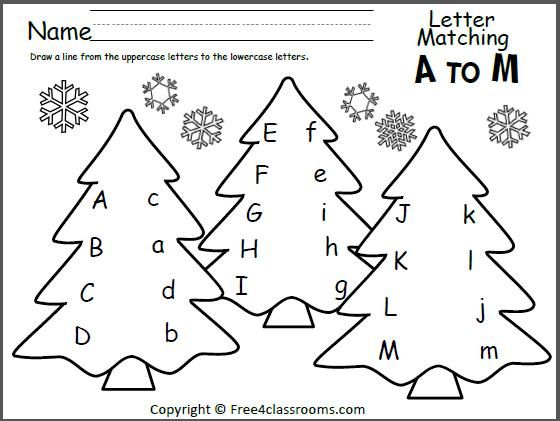 free tree letter matching a to m great winter and christmas worksheet for preschool and. Black Bedroom Furniture Sets. Home Design Ideas