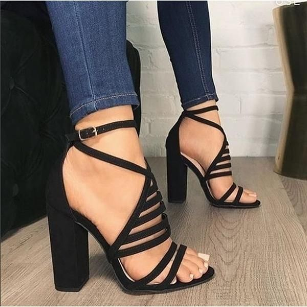Thick High Heel Platform Gladiator Shoes Summer Nightclub Sandals Womens Pumps #highsandals