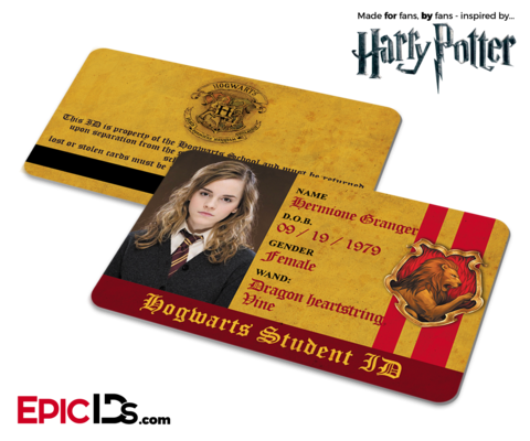 harry potter inspired hogwarts student id gryffindor hermione granger