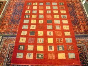 "#21: Colorful small Gabbeh rug. 3'3"" x 4'11"""