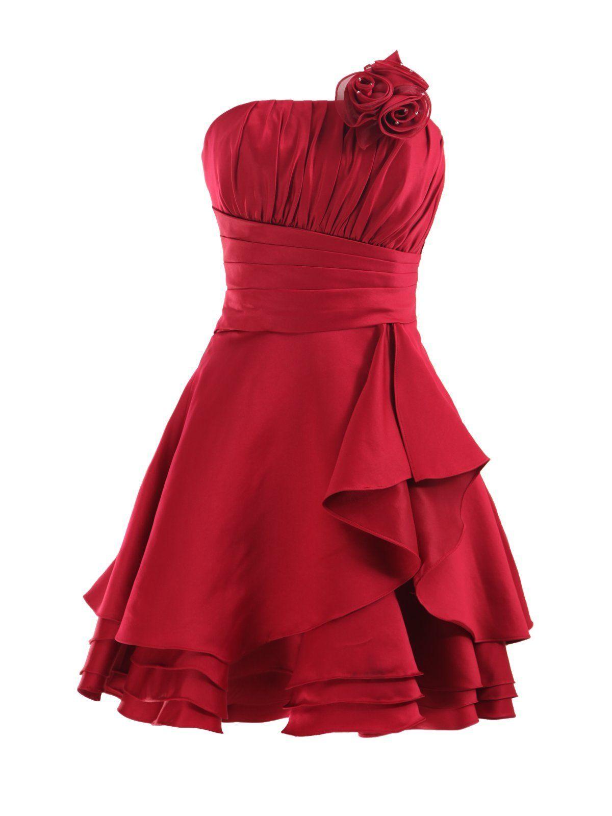 Red and black wedding dress  Landybridal Corset Knee Length A Line Satin Party Dress E L
