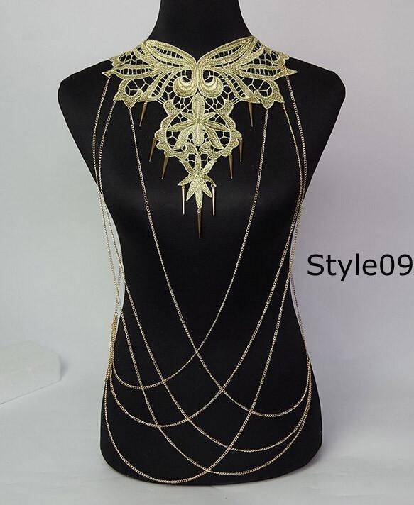 Lace Flower Collares Gold Body Chains Women Hollow out Big Gothic Necklace Multilayer chain