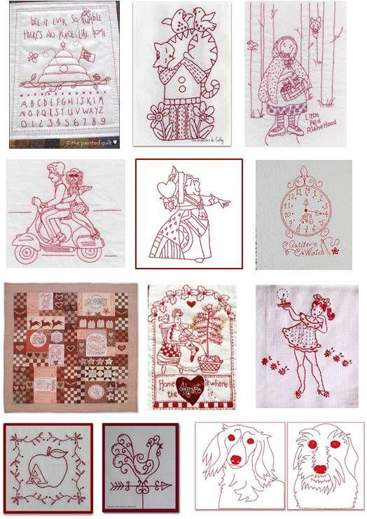 Quilt Inspiration: Free pattern day:  Redwork (updated on December 1 2012 !)