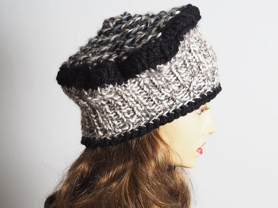 ff176a11187 Black   white slouchy beanie Ready to ship Chunky by TheMastHatter