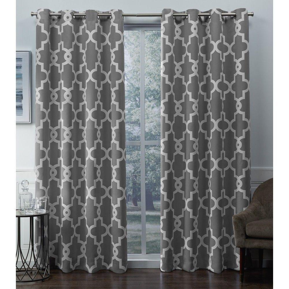 Latest window coverings 2018  ironwork sateen woven room darkening window curtain panel pair black