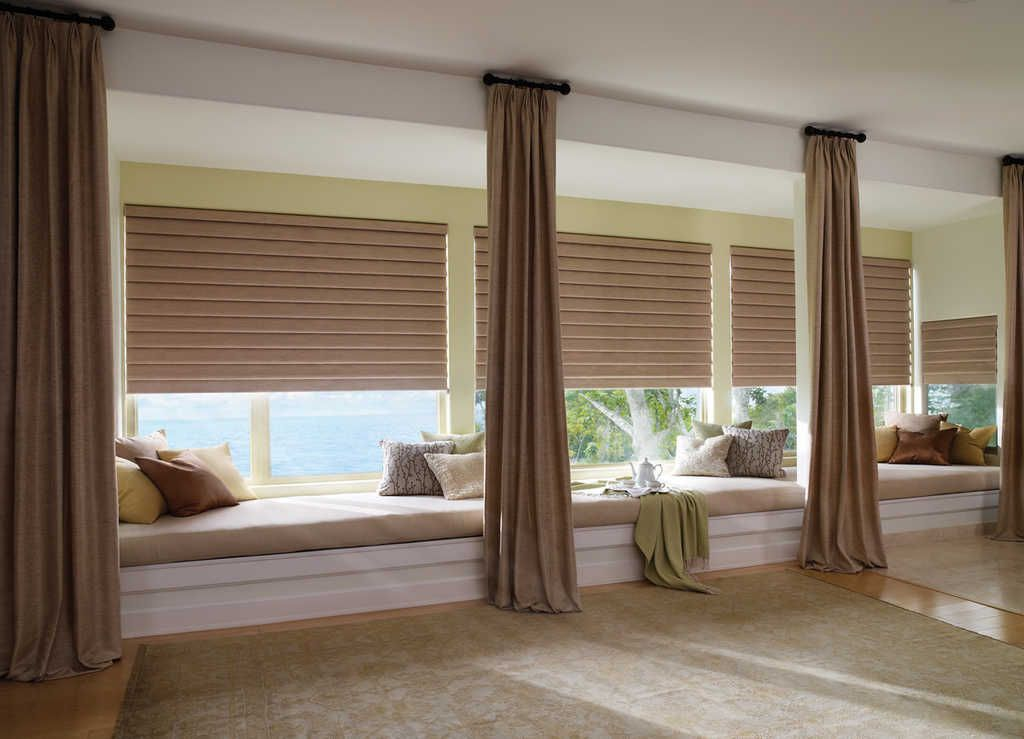Hunter Dougl Roman Shades In Vignette Featuring Ultraglide Are Both Rustic And Effortless For This Transitional Bedroom