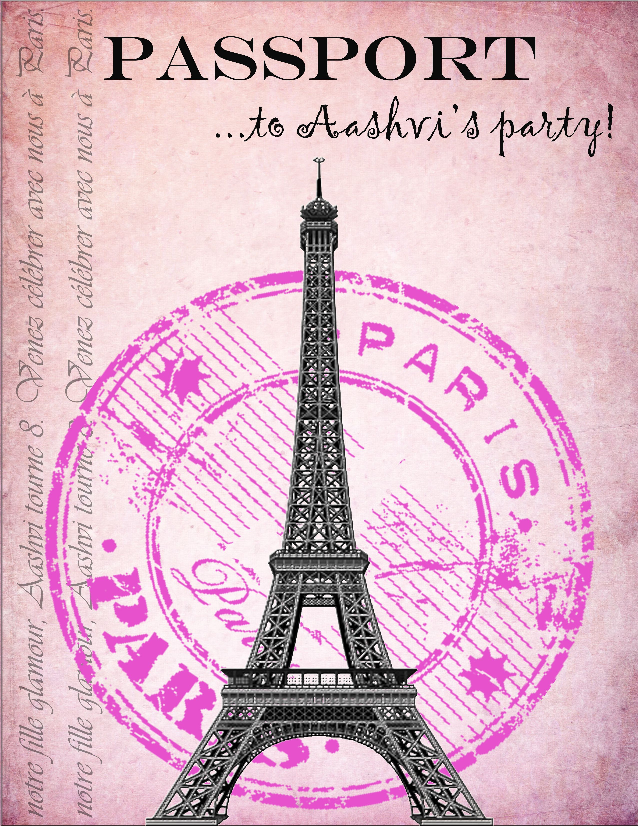 Party invitations I made for my daughter's Paris themed party! The inside is a boarding pass ...