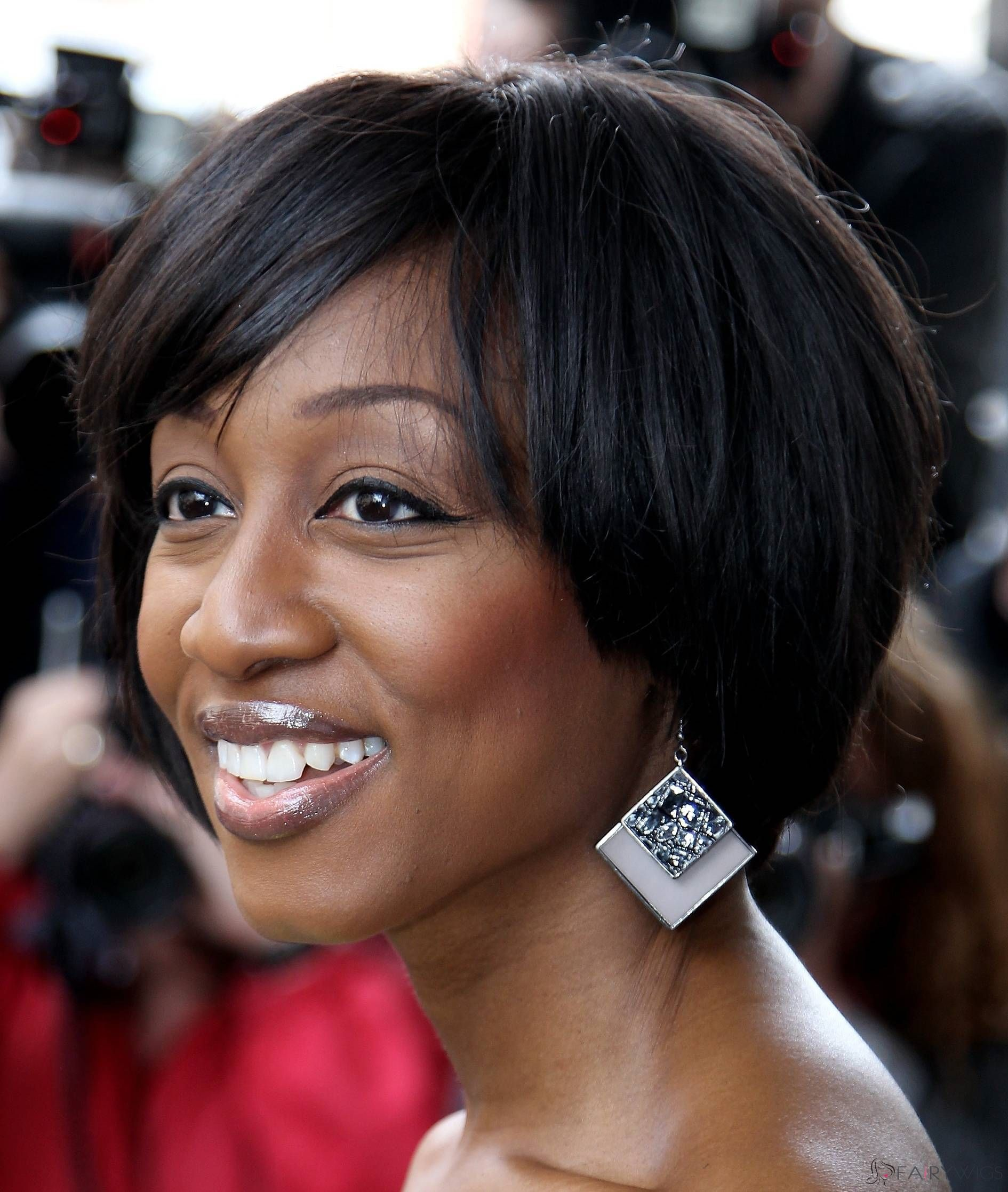 Gorgeous short straight sepia african american wigs for women