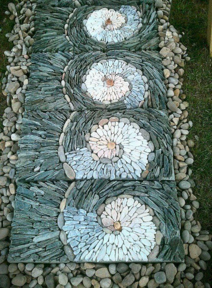 40 Pebble Mosaic Design Ideas For Your Backyard Mosaic Garden Pebble Garden Diy Garden