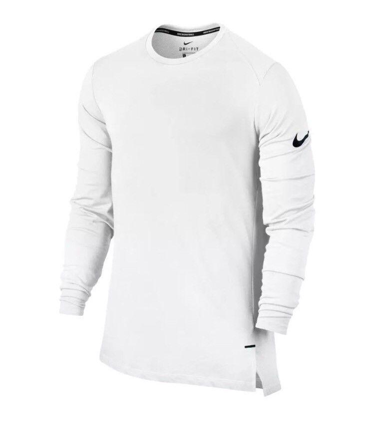 04454106ee1372 NIKE ELITE MEN S LONG-SLEEVE BASKETBALL TOP SHIRT 830944 100 WHITE NEW SIZE  XL  Jordan  ShirtsTops