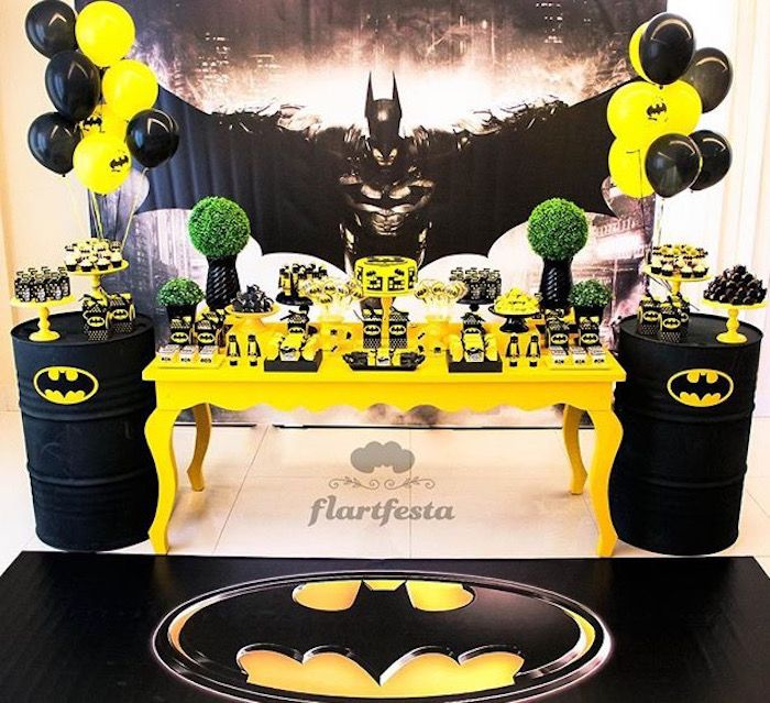 batman birthday party Black and Yellow Batman Birthday Party | Superhero Party Ideas  batman birthday party