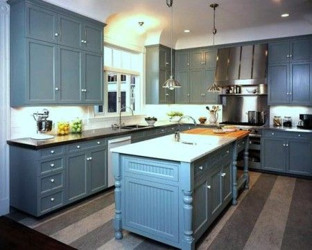 Teal Grey Kitchen Cabinets Black Granite Counter Google Search