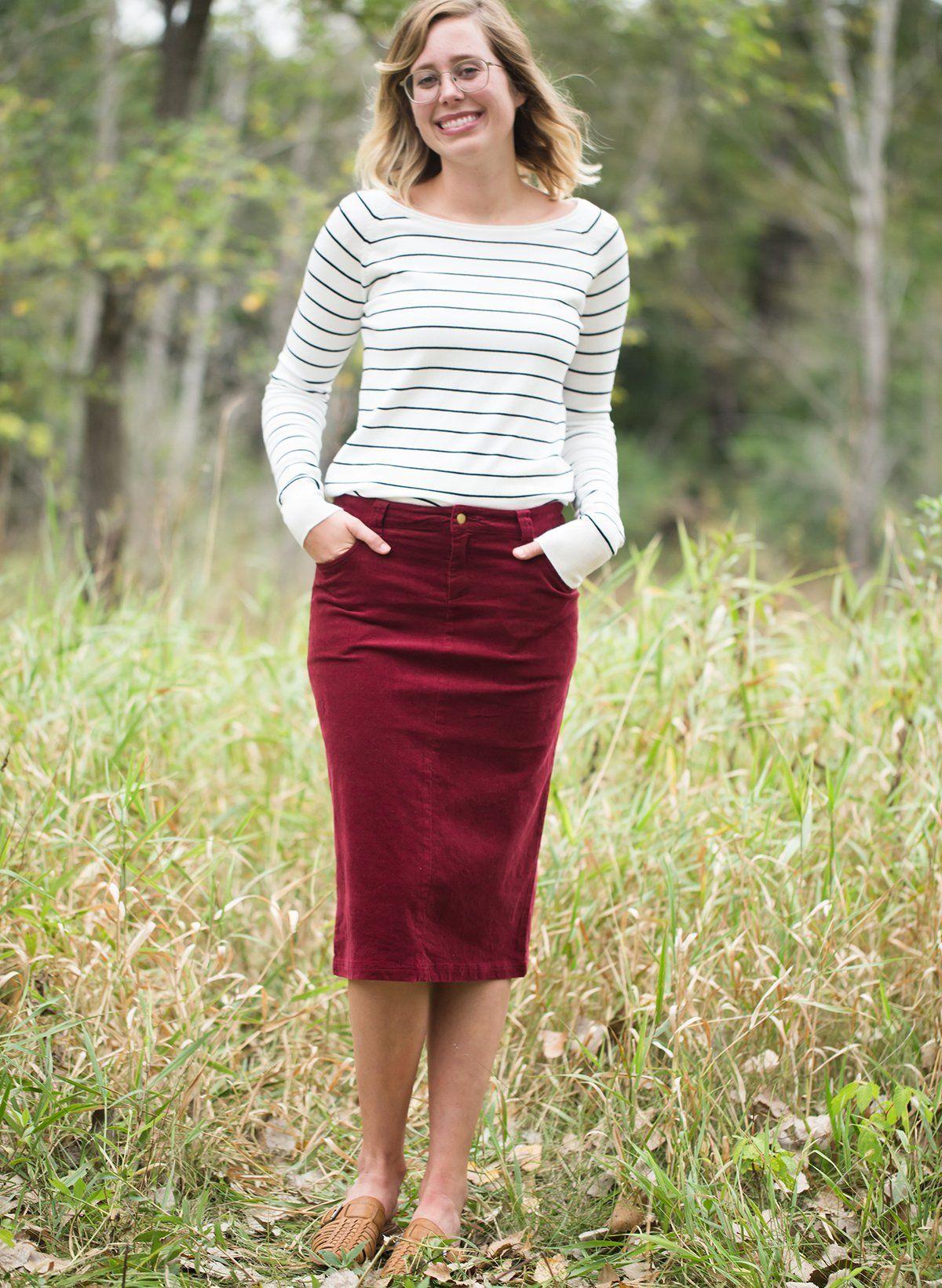 3ce52507bbeb13 Women's Modest Christy Corduroy Midi Skirt | Inherit Clothing Company –  Inherit Co.