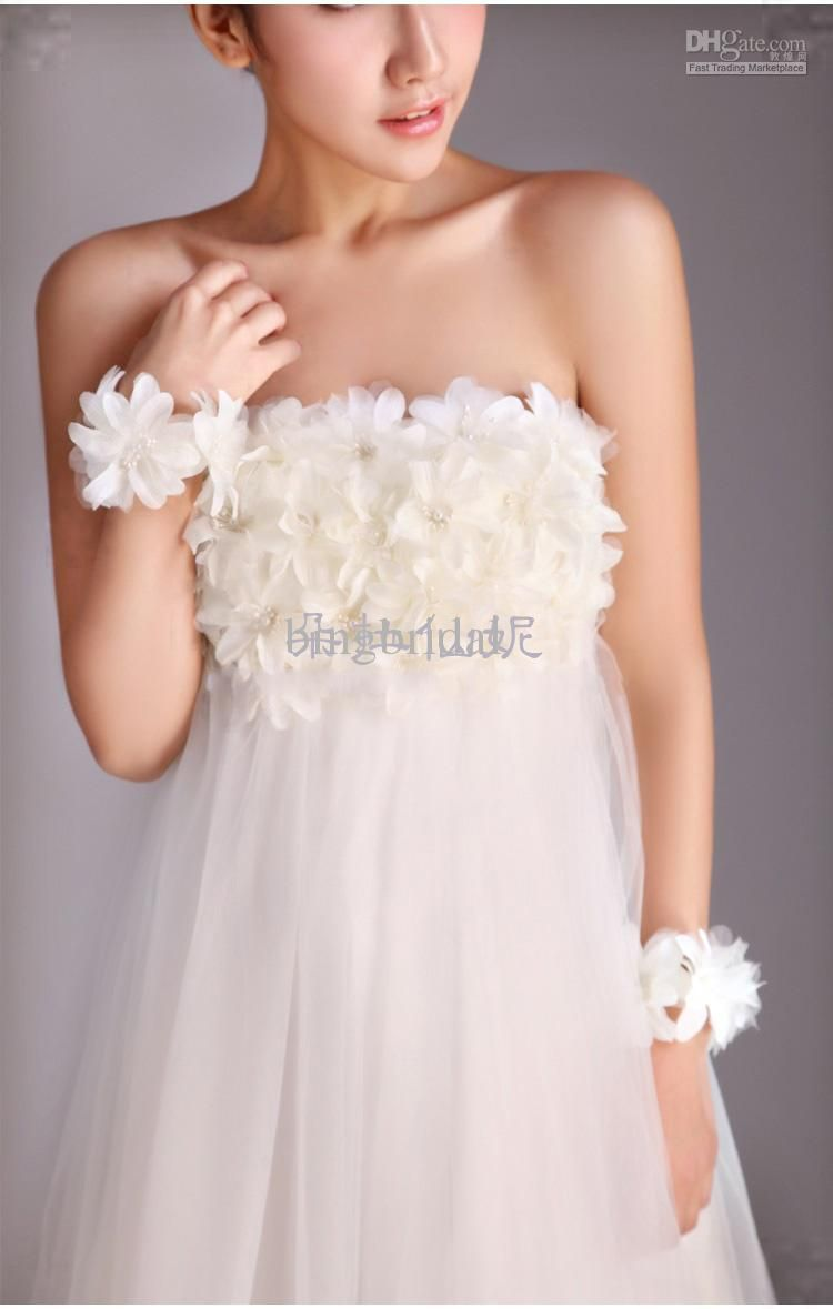 Flower empire highlow wedding dresses strapless pearls beading