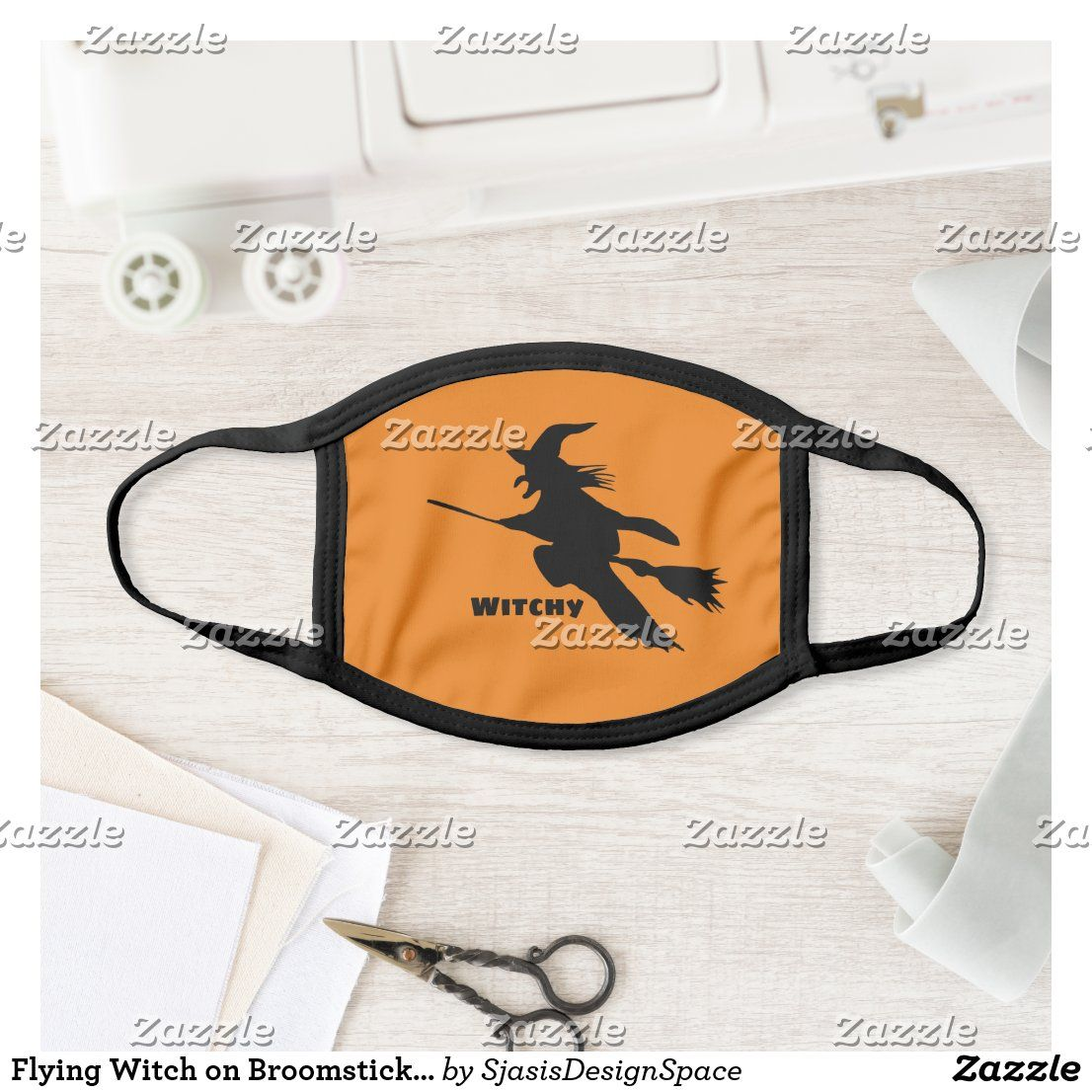 Flying Witch on Broomstick Halloween Face Mask Zazzle