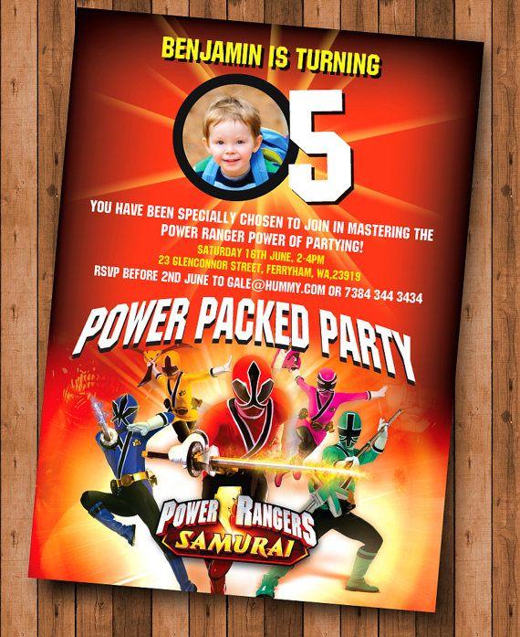 Power Rangers Samurai Birthday Invite By Cookiesandcreamshop