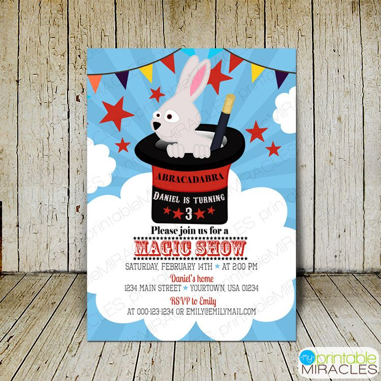 MyPrintableMiracles: Magic show birthday invitation kids magic show ...