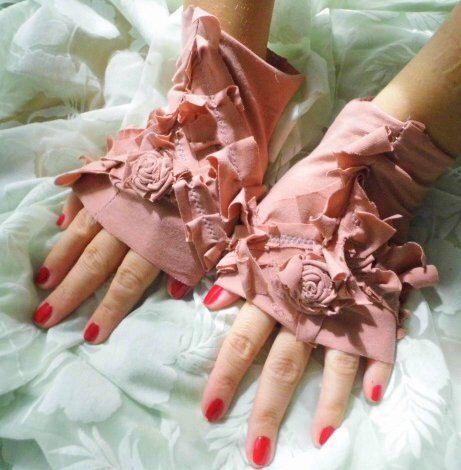 gloves, victorian, shabby chic, jane austen, romance, wedding, dusty pink, bridal, romance, flowers, ruffle,cuffs,faery wedding ,love,women by radusport on Etsy https://www.etsy.com/listing/241998761/gloves-victorian-shabby-chic-jane-austen