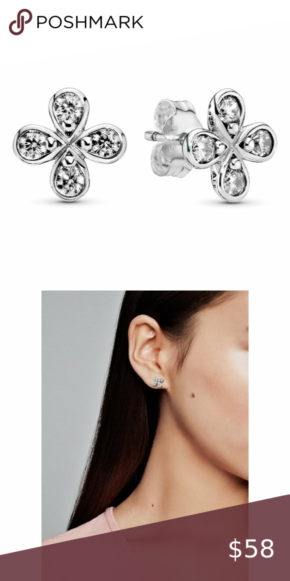 Pandora Four Petal Flower Stud Earrings Metal Sterling Silver New With Tag Come With Pandora Bag Flower Earrings Studs Pandora Jewelry Earrings Flower Studs