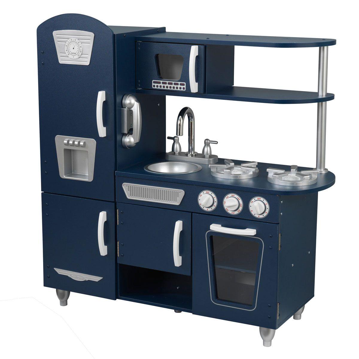 Retro Küche kidkraft marineblaue retro küche die türen lassen sich öffnen und