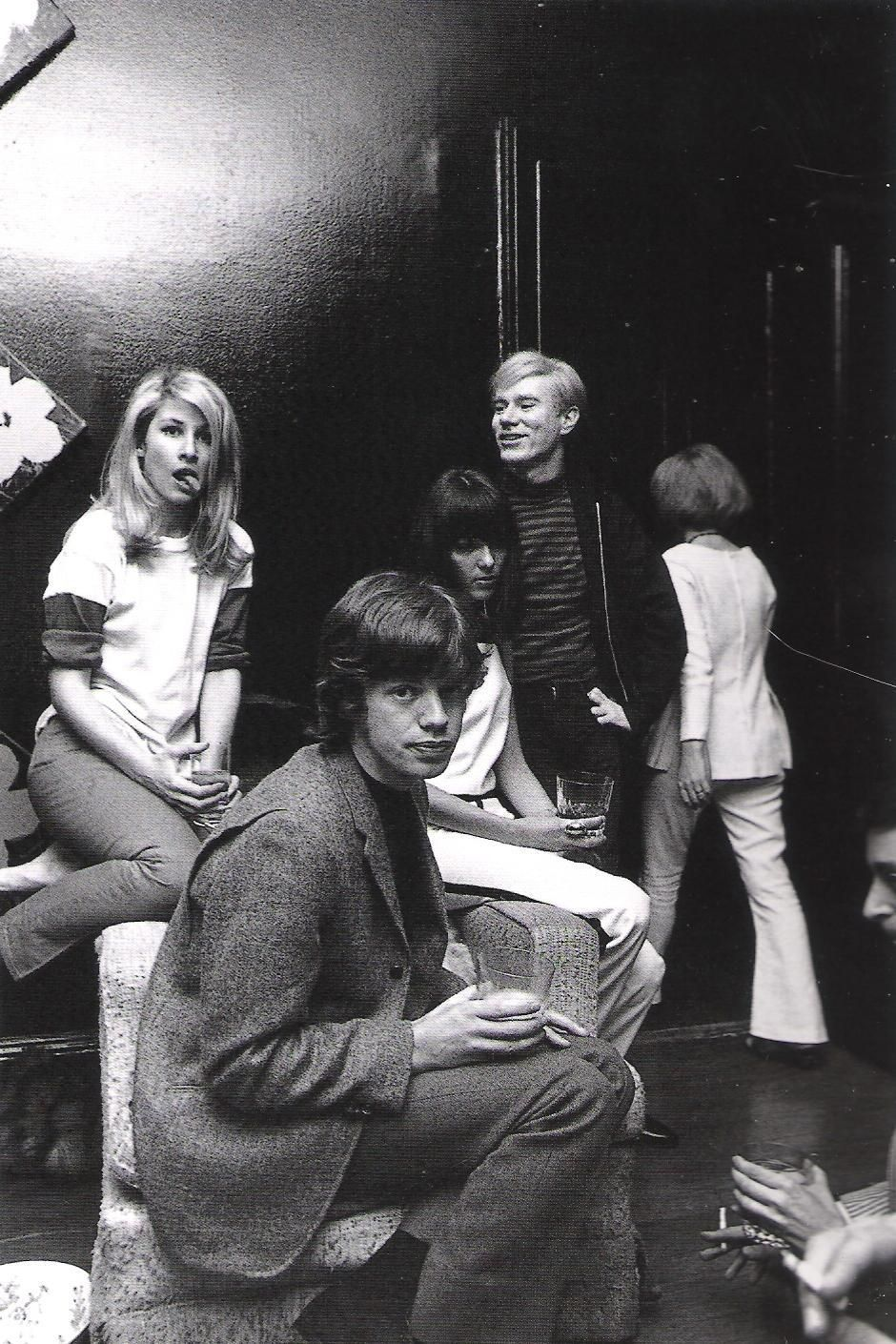 """""""Baby"""" Jane Holzer, Mick Jagger and Andy Warhol at Jane's apartment,955 Park Ave, Manhattan  photo by David McCabe, c. 1960s"""