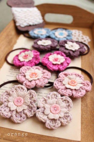 crochet flower pony holder