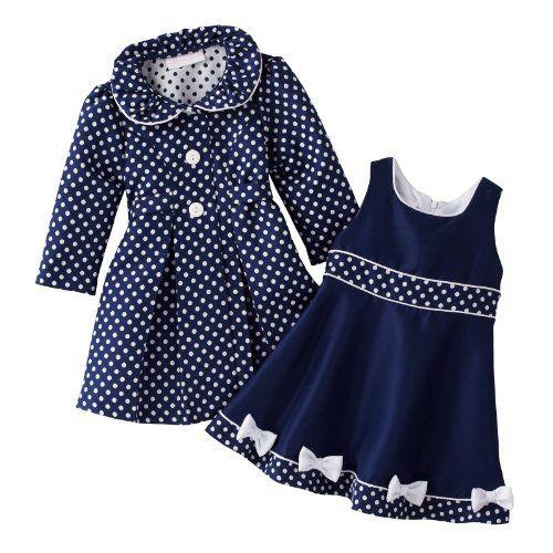 Bonnie Jean Baby Girls Easter Holiday Coat Dress Polka Set 12 18 24 Months