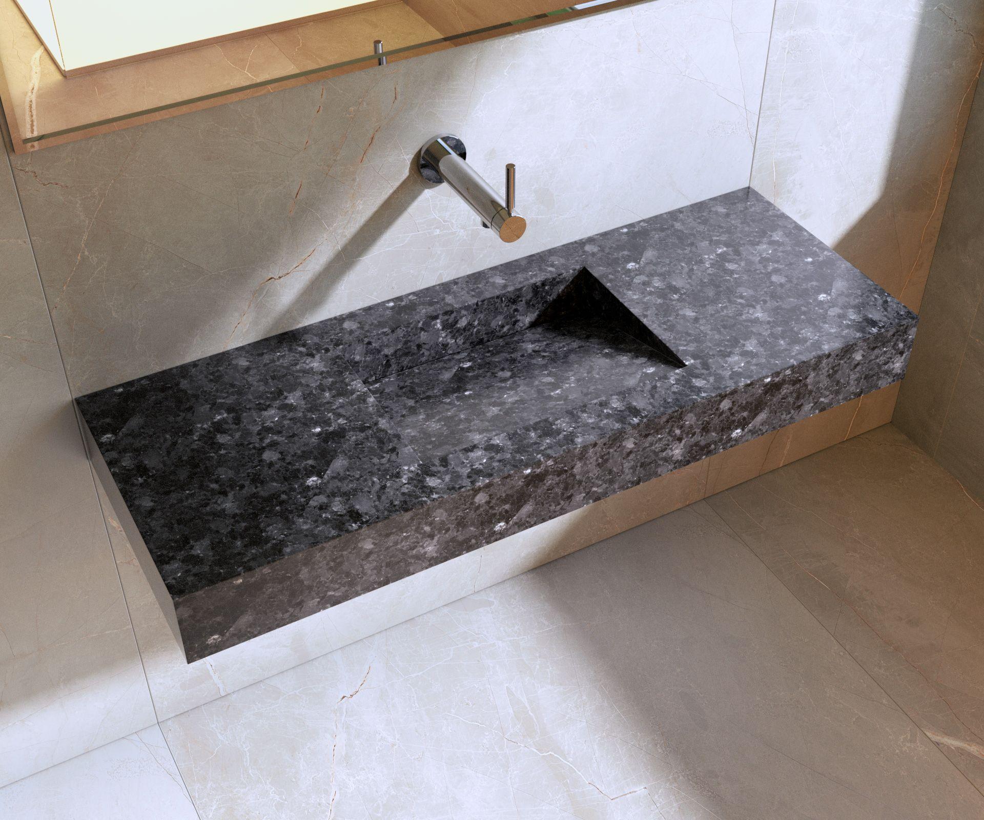 Plan vasque incliné en Granit Angola  Plan vasque, Vasque