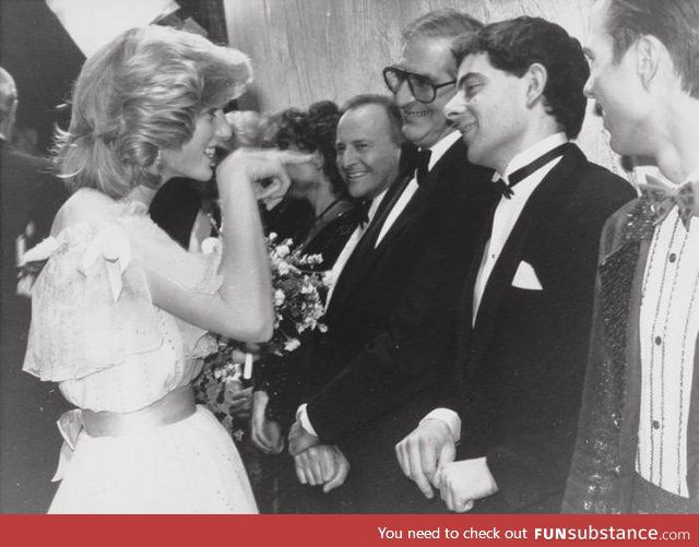 """Mr Bean!"" - Princess Diana meets comedian Rowan Atkinson"