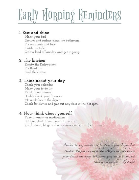Getting Organized: Morning Reminders Printable | Bald ...