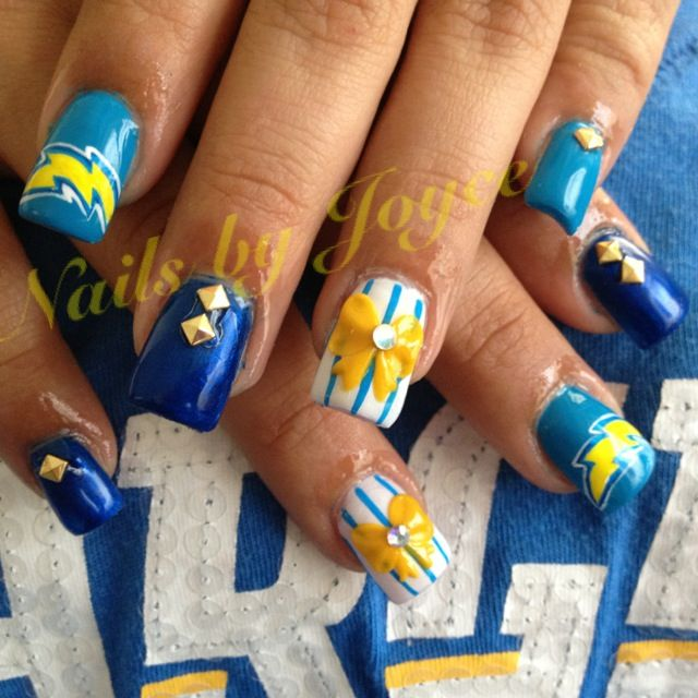 Chargers Nails Awesome Hair And Beauty Tips