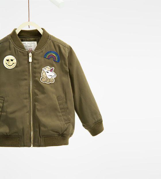 image 1 of patch bomber jacket from zara g i r l s c l. Black Bedroom Furniture Sets. Home Design Ideas