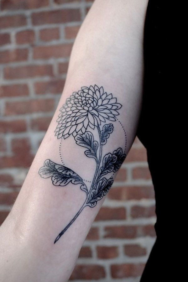 498482c6af442 chrysanthemum arm tattoo - 40 Beautiful Chrysanthemum Tattoo Ideas | Art  and Design