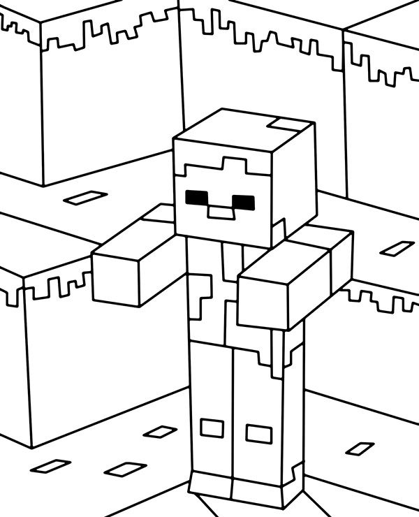 Zombie The Most Common Hostile Mob Creature In Minecraft Coloring Page Minecraft Coloring Pages Minecraft Drawings Minecraft