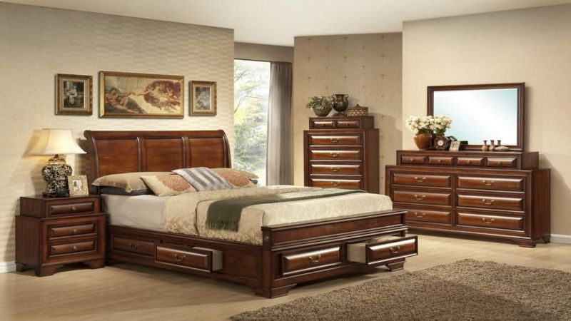 mollai collection 7pc bedroom set with rustic cherry finish queen u0026 king