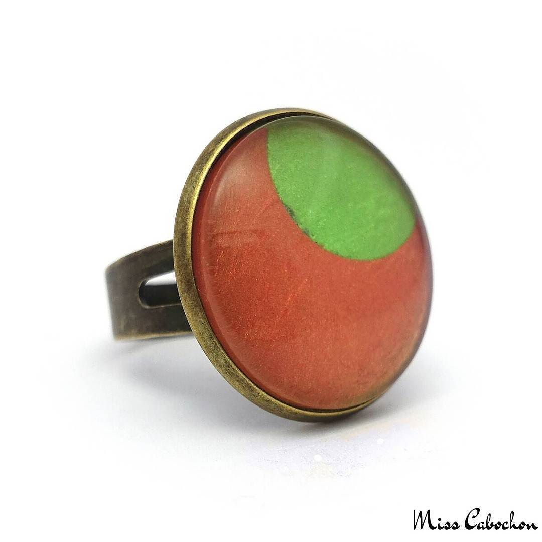 Fashion ring - Green Moon on Orange - The #jewelry of the day! More info at misscabochon.com