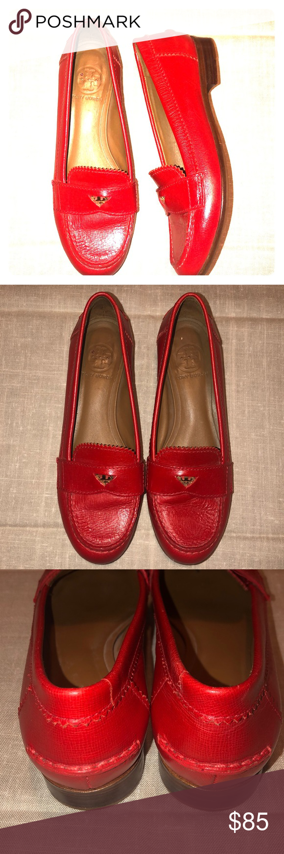 0f382e704d6 Tory Burch Red Medallion Logo Penny Loafer 7.5M Tory super cute Saffiano  leather textured penny