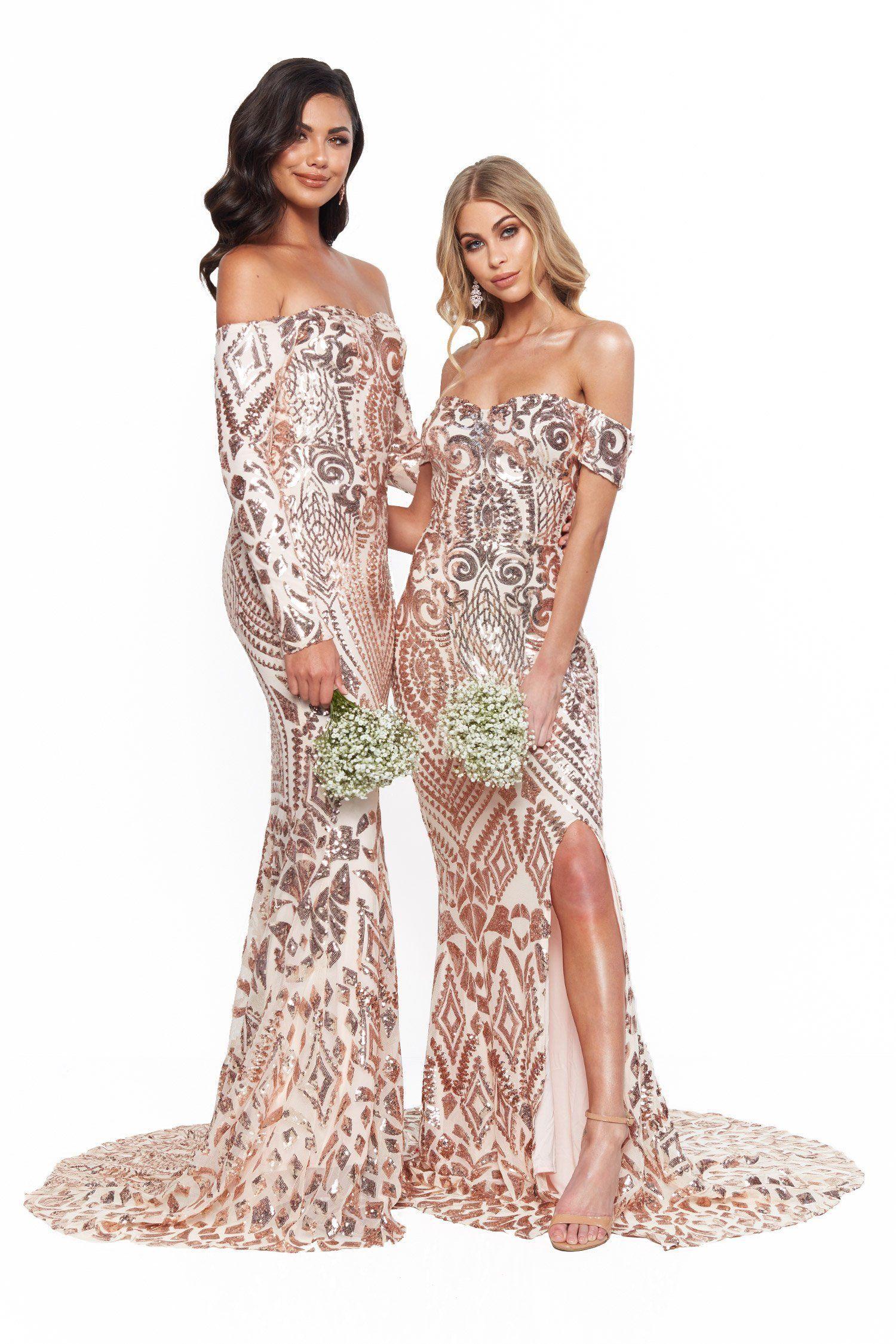 9b415058a5d A&N Bridesmaids Amara Sequin Long Sleeve Off-Shoulder Gown - Rose Gold