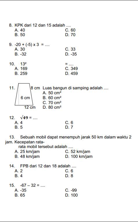 Soal Dan Jawaban Kelas 5