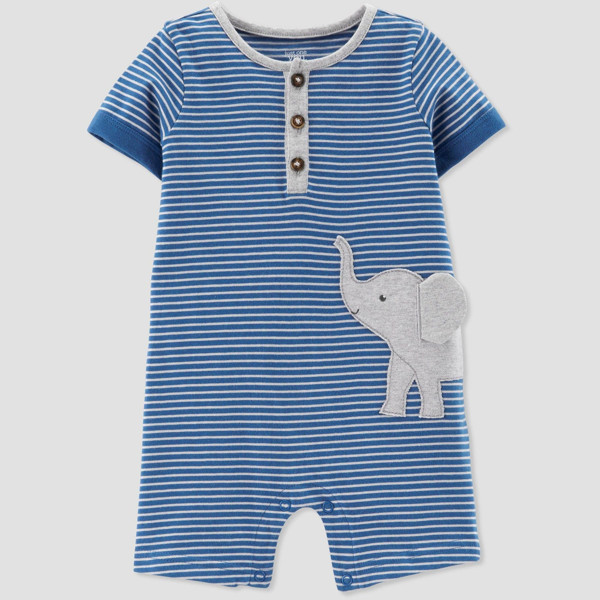 f063597f2 Baby Boys  Striped Elephant Romper - Just One You made by carter s Blue 12M
