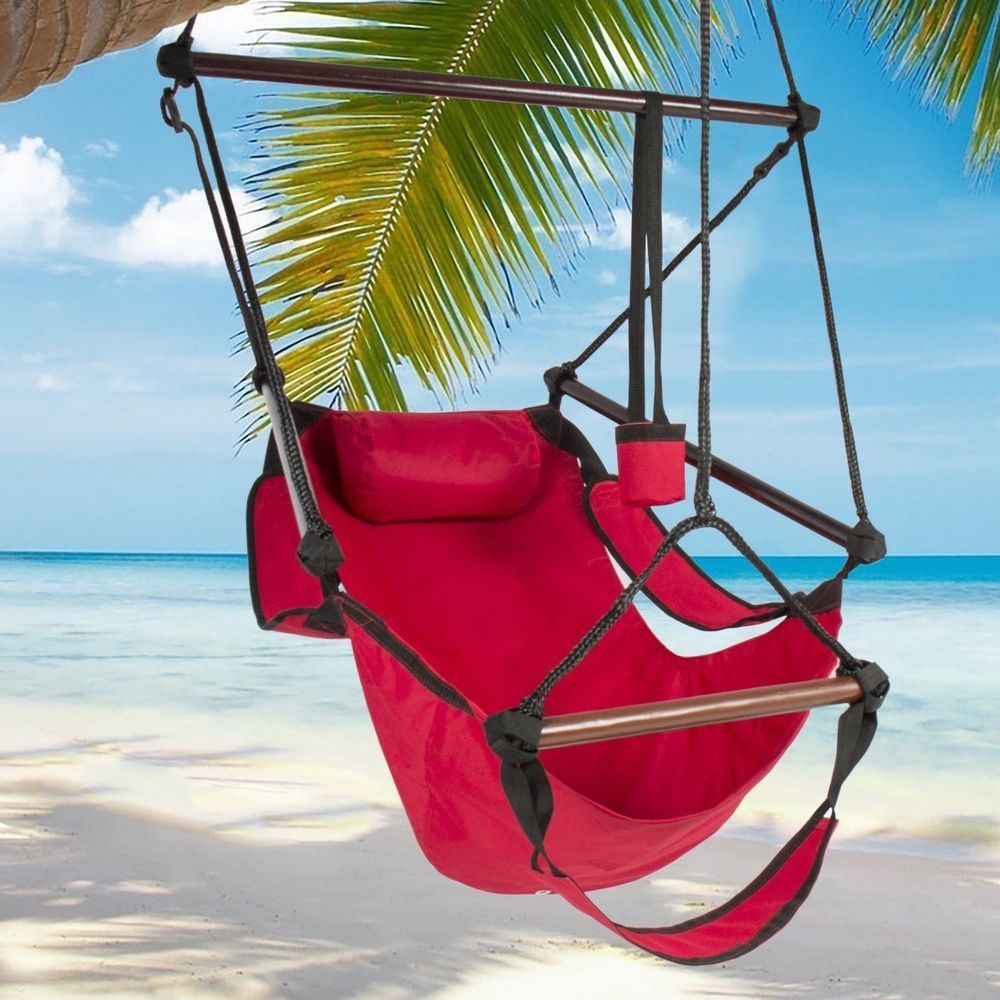 Hanging Hammock Chair w/ Foot Rest Air Swing Seat Outdoor