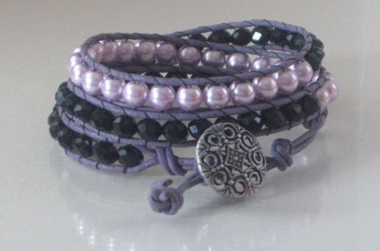 Three wrap leather wrap bracelet lilac glass by Lauralynnmichelle, $30.00