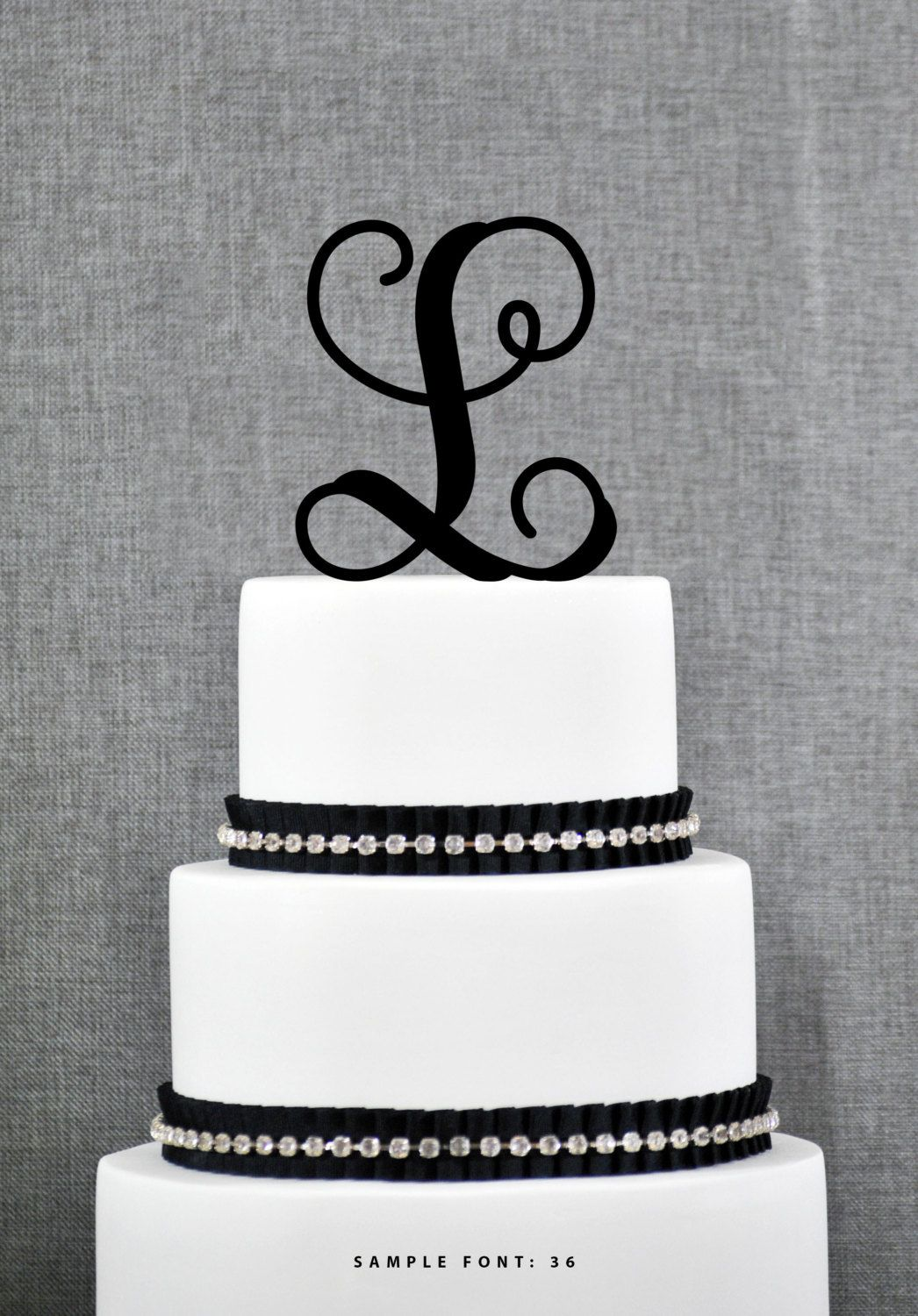 Personalized Monogram Initial Wedding Cake Toppers -Letter L, Custom ...