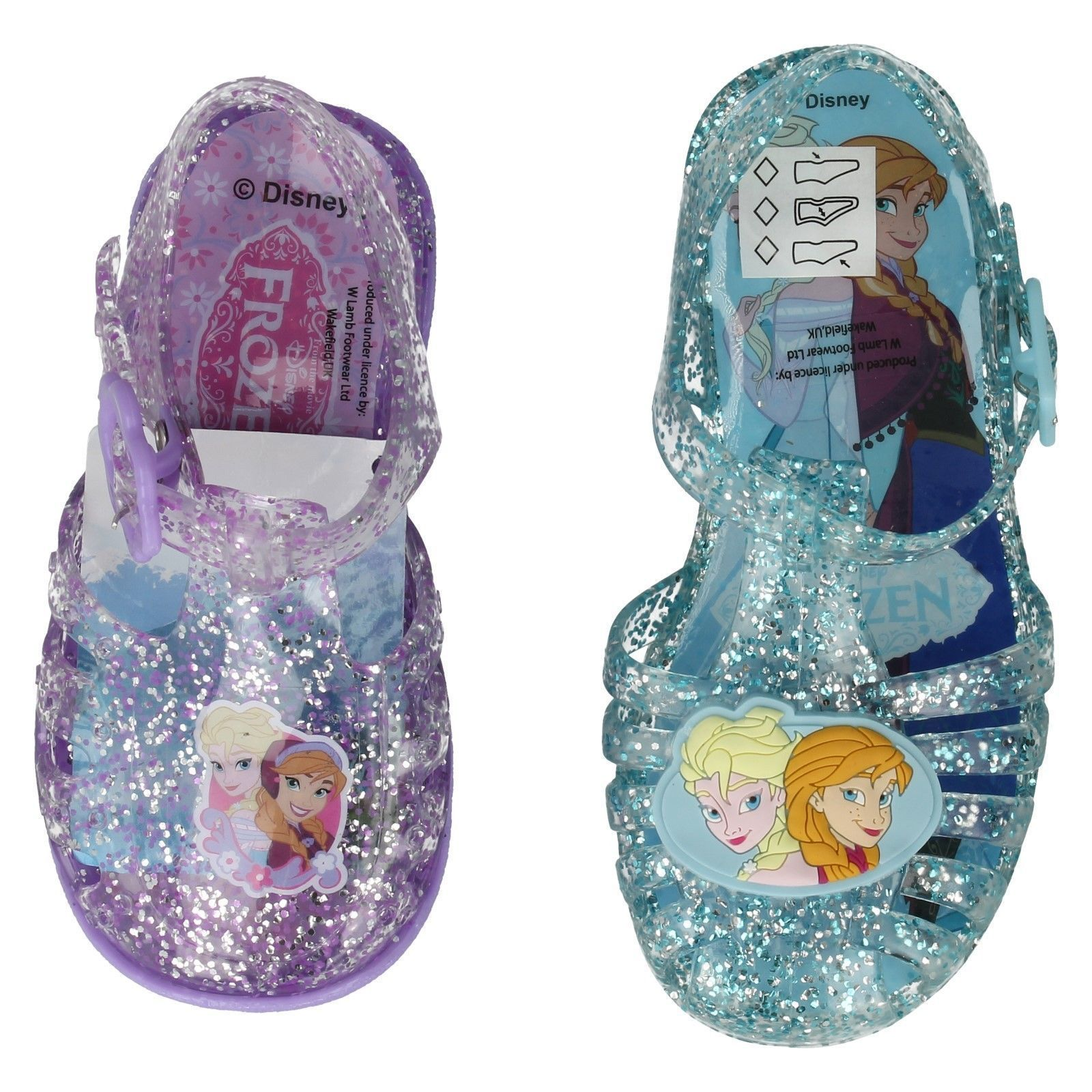 GIRLS DISNEY FROZEN GLITTER BLUE LILAC JELLY SHOES BEACH SUMMER SANDALS SIZE