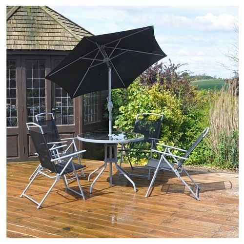 Garden Dining Furniture Rounded Table Armchairs Parasol Patio