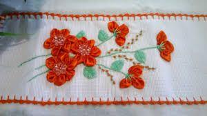 Resultado de imagem para flores feitas com fitas de cetim